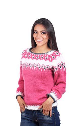 INTI ALPACA Handgestrickter Pullover für Damen mit Alpaka Wolle - Gestrickter Pullover - Winterpullover - Isländ Pullover - Rosa (Large)