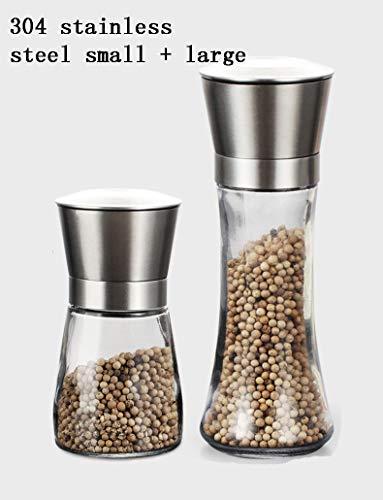 QINGTIAN Peper Grinder Salt Grinder Zout En Pepper Mill Set,Spice Shaker,verstelbare RVS Verstelbare Dikte Gezond Materialen Met Glas Lichaam Keukengerei Keramische Grinding Core