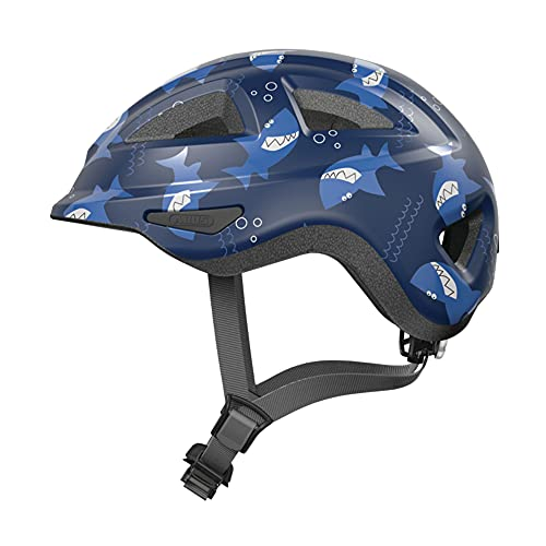 ABUS Kinderhelm Anuky 2.0 ACE - Fahrradhelm für Kleinkinder und Kinder - mit Licht und Kinnschutz - für Mädchen und Jungen - Blau mit Hai-Muster, Größe M