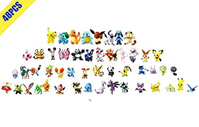 OMZGXGOD Pokemon Figuras ,Mini Figuras de plástico tamaño pequeño Regalo,La Figura de Pokémon Incluye a Pikachu, Charmander, Squirtle, niños(48Piezas) (48) por OMZGXGOD