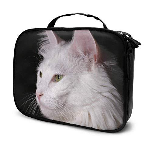 Gato Angora Gatito Blanco Pura Sangre Mascota Encantadora Bolsa de Viaje Maquillaje Bolsa de Aseo de Viaje para Hombres Pequeño Bus Bolsa de cosméticos Bolsa Impresa multifunción para Mujere