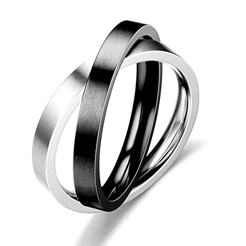 Hsumonre Interlocked Rolling Couple Rings Cross Double Color Wedding Band Rings for The Younth Statement Rings 3MM Titanium Steel (Black,9)