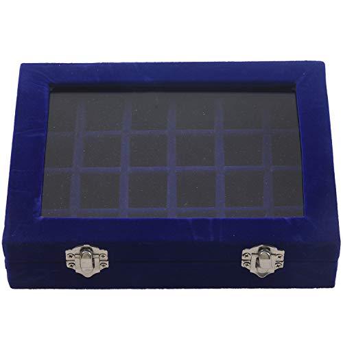 Fransande Caja de exhibición de 24 rejillas para guardar joyas de cristal, pulsera y reloj, hebilla azul