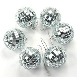 Cosmos 6 pcs 1.8 Inch Disco Ball Mirror Party Christmas Xmas Tree Ornament Decoration with Cosmos Fastening Strap