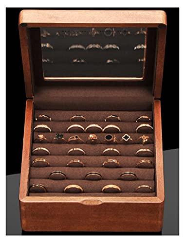XIRENZHANG Caja para joyas de madera maciza, caja para anillos, pendientes, caja para joyas, caja para joyas para mujeres y hombres, color marrón