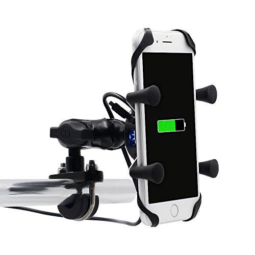 Universal Bicicleta Motocicleta Montar Soporte - USB Cargador de Teléfono Celular para iPhone, GPS, Sony y Otros Teléfonos con 3.5-6 Pulgadas Pantalla(Motorcycle X-Grip Holder)