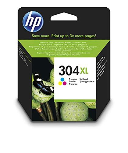 HP 304XL N9K07AE, Tricolor, Cartucho de Tinta de Alta Capacidad Original, compatible con impresoras de inyección de tinta HP DeskJet 2620, 2630, 3720, 3730, 3750, 3760, HP Envy 5010, 5020, 5030