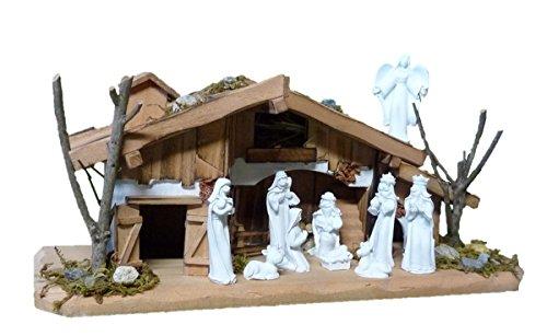 Geschenkestadl Krippenset Holzhaus 30cm Krippe incl. 10 Krippenfiguren in Weiss