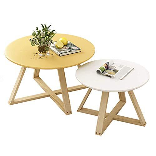 AOIWE - Juego de mesa redonda con incrustaciones de café, combinación de mesa de café para salón, mesa auxiliar creativa, mesa redonda para dormitorio, 9 colores (color: I)