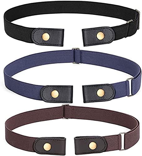 Cinturón elástico sin hebilla de 3 piezas Cinturón sin hebilla Cinturón elástico invisible Unisex para cinturón ajustable Pantalones vaqueros - Color 3
