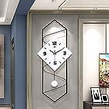 XQMY Reloj de Pared Moderno con péndulo, Reloj de Sala de Estar con Esfera Grande de Madera Maciza, Movimiento de Barrido, Reloj de Pared de Cuarzo silencioso Que no Hace tictac-b 30x70cm (12x28i