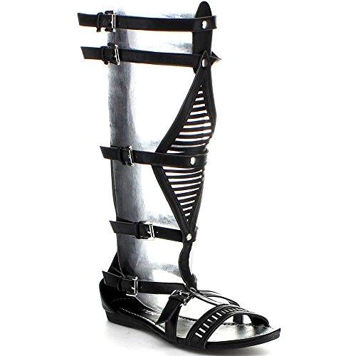 Wild Rose Women's Lory-89A Gladiator Sandals,Black,8