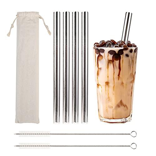 Cannucce in metallo riutilizzabili per bubble tea, 4 pezzi cannucce (215x12mm) in acciaio inossidabile con spazzole e borsa, lavabili in lavastoviglie