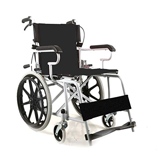 NANANA Faltrollstuhl Transportrollstuhl Reiserollstuhl Rollstuhl Faltbar, Sitz 50 cm, Ultraleichter Rollstuhl Nur 11 Kg,Black