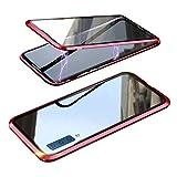 Galaxy A7 ケース/カバー A750/SM-A750C アルミバンパー クリア 透明 両面 前後 ガラス マグネット かっこいい アルミサイドバンパー サムスン ギャラクシー A7 2018/2019 落下防止 強化ガラス メタルケース マグネットバンパー(レッド)