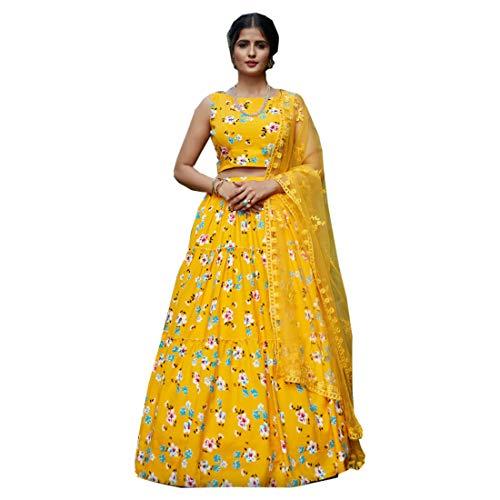 PINKKART Indisches Designer-Kleid aus Seide, Crepe, Lehenga, Choli, Netz, Dupatta, Ghaghara, Rock, Kleid 5264 Gr. Auftrennen, gelb