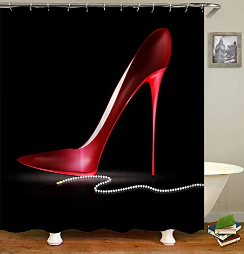 LGY Shower Curtain. Bathroom Accessories. Waterproof. 3D Design Digital Printing. Contains 12 Hooks. Red High Heels. Pearl Necklace.