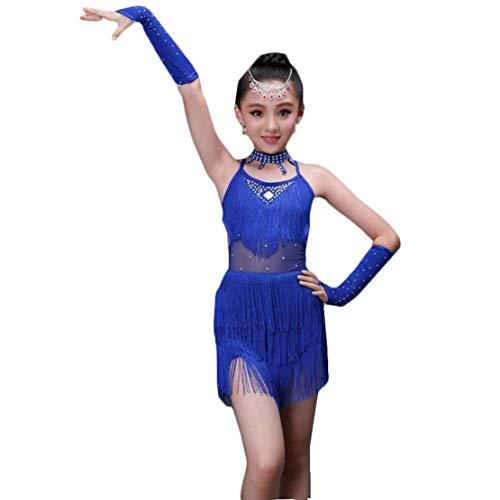Latin Kleid Mädchen Troddel Tanzkleid Set Kinder Turnierkleid Performance Kleidung Tanzkostüm Latein Salsa Tango Rumba