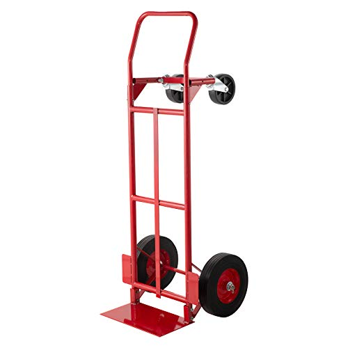 BestEquip Convertible Hand Truck 200lb/300lb Capacity Convertible Dolly with 10 Inch Solid Caster and 5 Inch Swivel Casters Dolly Cart 2 Wheels Dolly and 4 Wheels Cart for Handling Equipment in Red