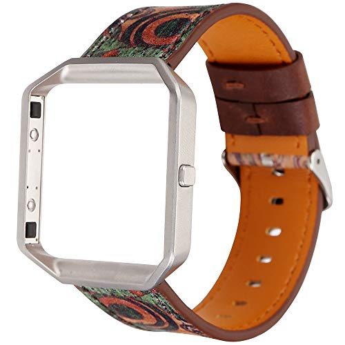 LUONE Reemplazo Muñequera, Compatible con Fitbit Blaze Correa de Reloj de la Vendimia impresión Reloj Pulsera de liberación rápida Correas de Reloj Deportivo,Verde