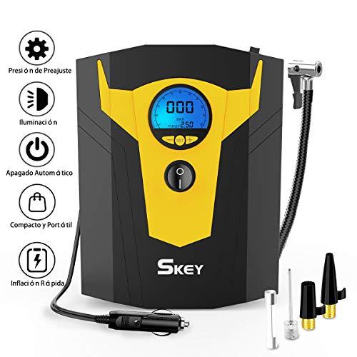 SKEY Compresor de Aire Portátil, Inflador Eléctrico de 12V, con Protección...