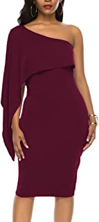Women's Sexy Off One Shoulder Ruffle Bodycon Midi Cocktail Party Dresses