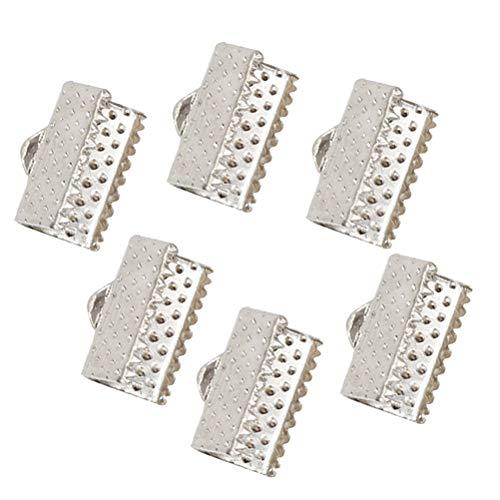 Healifty - Lote de 100 Cintas metálicas para Sujetar marcapáginas, Pinza, Cierre Fino y Hebilla de Piel, 1 cm, Color Blanco