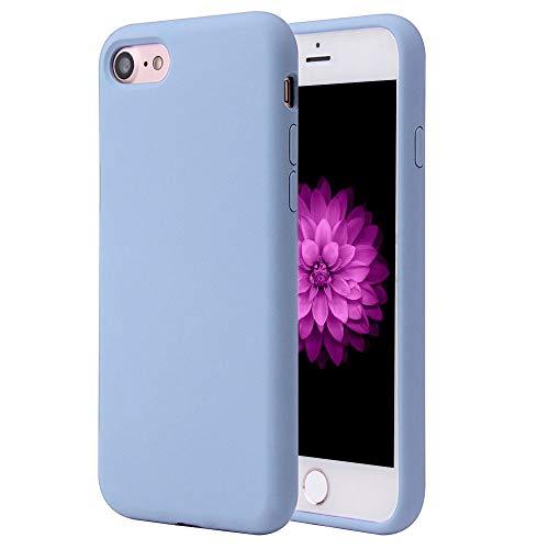 Antidote Funda de silicona para iPhone 7/8 / SE 2020 (4,7'), funda de gel antigolpes colección terciopelo (Celeste)