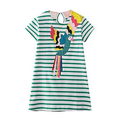 Eendelige kinderjurk kleine kinderen meisjes streep katoen losse jurk baby meisjes korte mouwen casual zomer basic shift shirt jurk prinses party zomer strand zomerjurk
