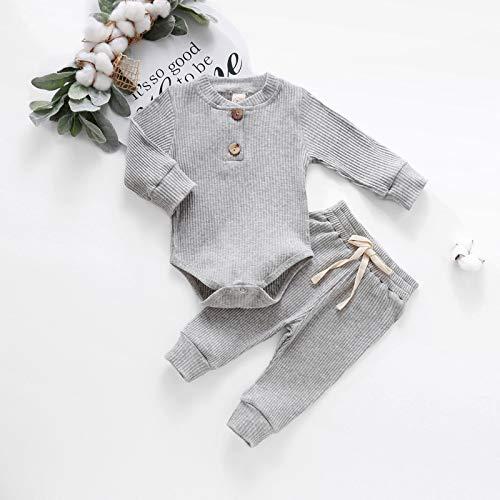 ToDIDAFA Body Bebé-Niños,Long-Sleeve Bodysuit Bebé-Niñas,niños,Body de Manga Larga para bebé , 3-24 Meses,Conjunto de bebé cálido Suave recién Nacido (Gris, 60)
