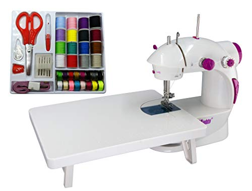Sew Mighty, The Original Portable Sewing Machines – Perfect for Beginners, Travel, Quick Repairs & Small Projects – Dual-Speed, Battery & AC Power, Foot Pedal Controller & More (With Sewing Kit)