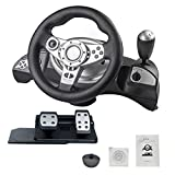 Keruite Driving Force Racing Wheel and Pedals,Support PS3/PS4/PC D-Input/X-Input PC Computer,Steering Wheel Simulation