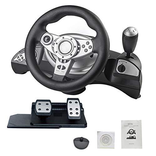 gaeruite Driving Force Racing Roues et pédales, Support PS3 / PS4 / PC Ordinateur PC D-Input/X-Input, Simulation de Volant pour la Conduite Automobile