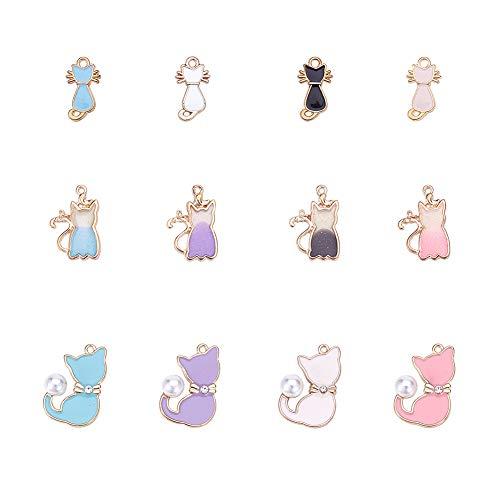 PandaHall 48 Pezzi 3 Stili Smalto Animali fascini Lega Pendenti Gatto Pendenti Charms per collane Pendente creazione di Gioielli