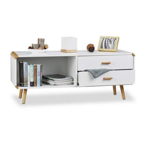 Relaxdays Sideboard abgerundet mit 2 Schubladen, langes Lowboard mit Beine, flache TV-Bank HxBxT 48 x 120 x 40 cm, weiß