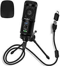 USB Microphone Computer PC Gaming Mic 192KHZ/24BIT Metal Recording Condenser Microphone for Streaming Podcasting Voice Over YouTube with Mic Gain Plug and Play on Windows/Mac Laptop Desktop