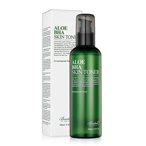BENTON Aloe BHA Skin Toner 200ml (6.76 fl. oz.) - Contains 80% Aloe Skin Exfoliating & Moisturizing Facial Toner, Removes Dead Skin Cells and Blackheads, Acne Prevention, Soothing Effect