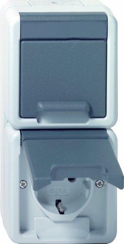 Gira 78030 dubbel stopcontact SCHUKO 078030 verticaal WG AP grijs, 250 V