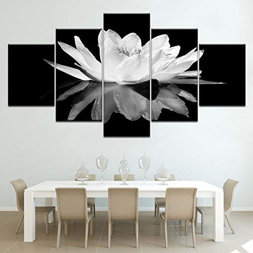 N / A Rahmenlose Malerei Familienzimmer modular 5 Sätze Gedruckter Poster Familiendekoration Moderne LotuswandkunstCJX1260 40x60cmx2, 40x80cmx2, 40x100cmx1