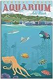 APAZSH Posters para Pared Póster de Viaje Vintage póster artístico de Lienzo de Acuario de la Costa Central Poster de Cuadros Decoracion de Pared de Regalo póster de Pintura 50x70cm x1 Sin Marco