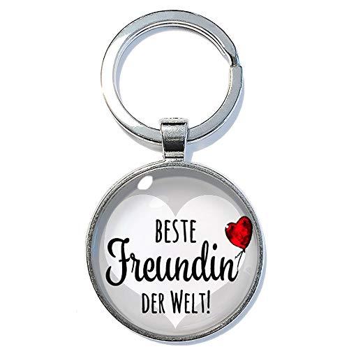Beste Freundin der Welt! ABOUKI Geschenk-Idee für Sie Mädchen Frau Freundinnen handgefertigter Glücksbringer Taschenanhänger Schlüsselanhänger 30mm
