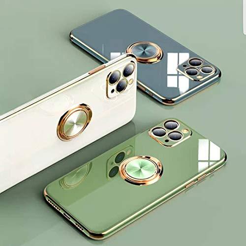 RIXANA - Funda para teléfono móvil compatible con iPhone 12/Pro/Max 360 grados, soporte de anillo magnético para coche, brillante, suave silicona TPU, protección extra para cámara y polvo