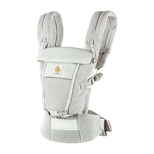 Mochila portabebé Ergobaby Adapt para recién nacidos desde el nacimiento, portabebé ergonómico de malla SoftFlex de 3posiciones para transportar en el abdomen y en la espalda, Pearl Grey
