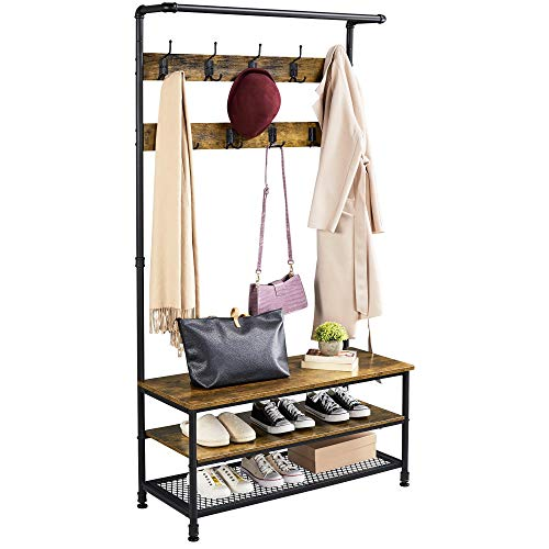 YAHEETECH Industrial Hall Trees with Bench and Coat Rack Entryway Bench with Coat Rack/Hooks/Hanger Stand Sturdy Bench Coat Tree Shoes Shelving Wood and Metal