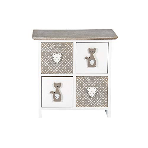 SPOTTED DOG GIFT COMPANY mini commode hout met 4 laden mini-kast met kattenmotief kattendecoratie geschenk voor meisjes dames vrouwen kattenvrienden kattenliefhebbers kattenbezitters