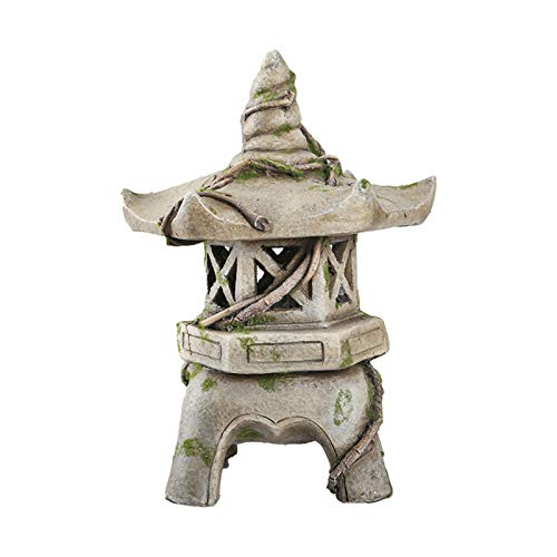 Outdoor Decorations Statues Outdoor Garden Lighthouse with Solar Decoration Sculpture Decoration Garden Decoration Resin Crafts Unique Housewarming Gift ( Color : Gray , Size : 33x33x46cm )