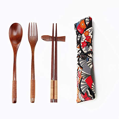 Ecloud Shop® Conjuntos Naturales Mesa de Madera de 5 Piezas (1 Cuchara, 1 Palillos, 1 Tenedor, 1 Soporte de palitos, 1 Patrón Vajilla Bolsa de Estilo japonés Rojo Negro)