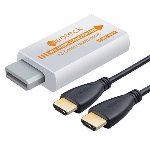 Neoteck Adaptateur Wii vers HDMI 1080P Wii Hdmi Adaptateur wii Hdmi Video Converter Mini HD HDTV Converter + Jack 3.5mm avec 1m HDMI Câble Supporte Format NTSC/PAL pour Smart TV HDTV - Blanc