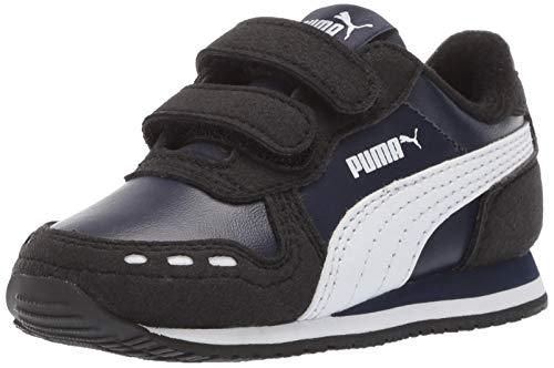 PUMA Unisex-Baby Cabana Racer Velcro Sneaker, Peacoat Black White, 10 M US Toddler