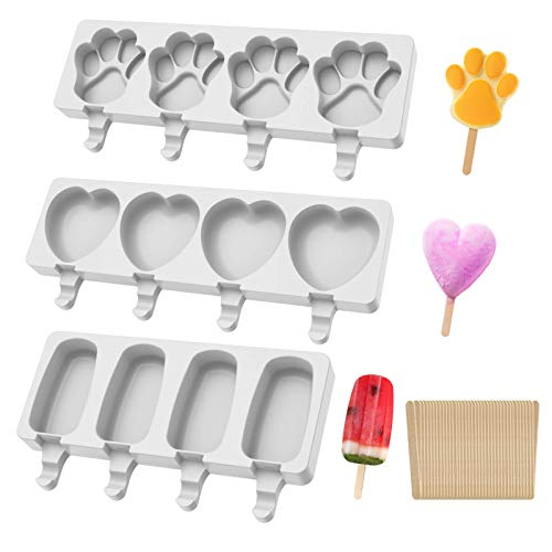 Popsicle Molds Set of 3, Baking Cake Popsicle Molds, 4 Cavities Ice Cream Mold, Homemade Ice Cake Pop Molds, Silicone Cakesicle Ice Pop Maker with 150 Wooden Sticks for DIY Ice Cream